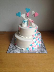 Gender reveal schoentjes taart
