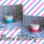 creme taartje (roze en blauw)