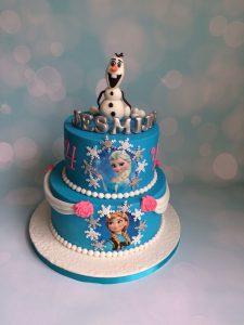 Ijsblauwe Frozen taart