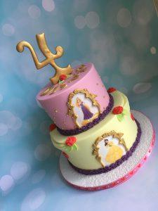 Roze/gele prinsessen stapeltaart