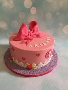 Lieve roze strik taart