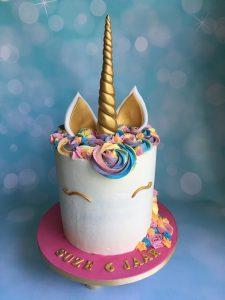 Unicorn creme toef taart