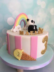 Kawaii regenboog panda taart
